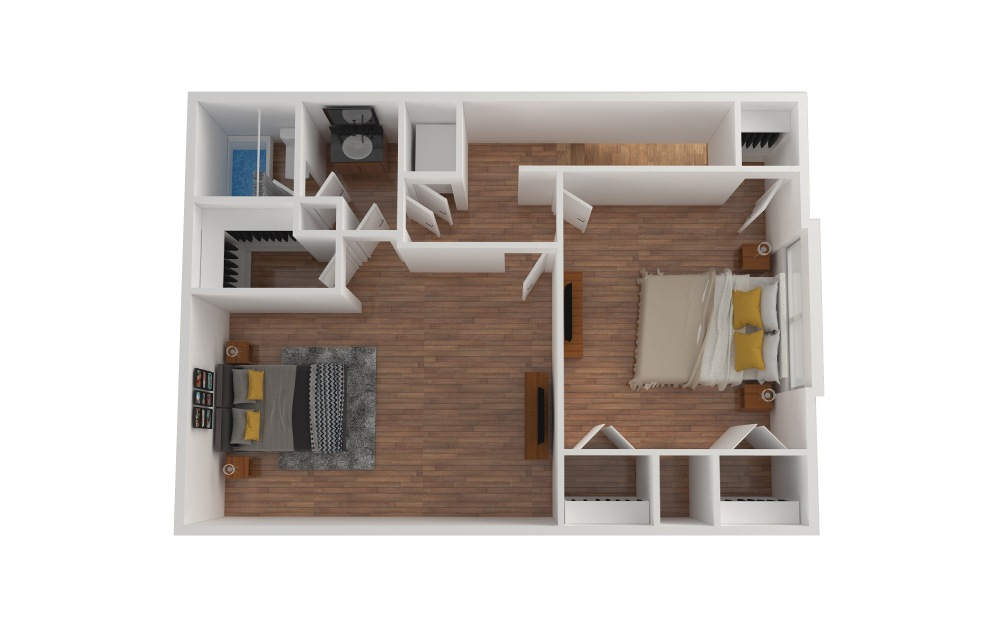 D1 - 2 bedroom floorplan layout with 1.5 bath and 1427 square feet. (Floor 3)