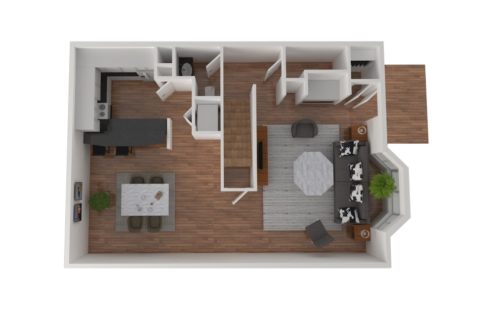 D2 - 2 bedroom floorplan layout with 2.5 baths and 1424 square feet. (Floor 2)
