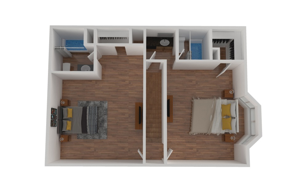 D2 - 2 bedroom floorplan layout with 2.5 baths and 1424 square feet. (Floor 3)