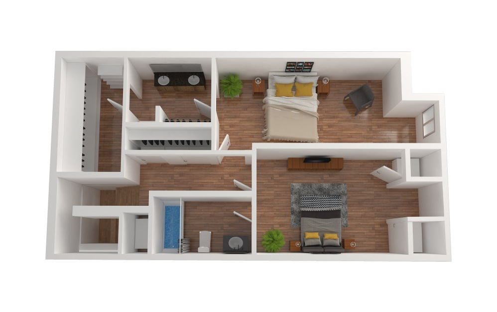 D3 - 2 bedroom floorplan layout with 2.5 baths and 1426 square feet. (Floor 3)