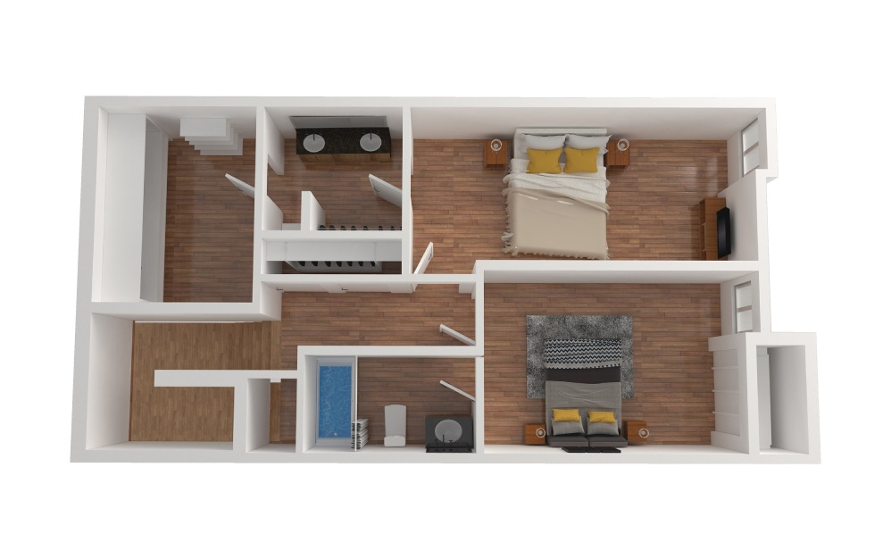 D4 - 2 bedroom floorplan layout with 2.5 baths and 1426 square feet. (Floor 3)