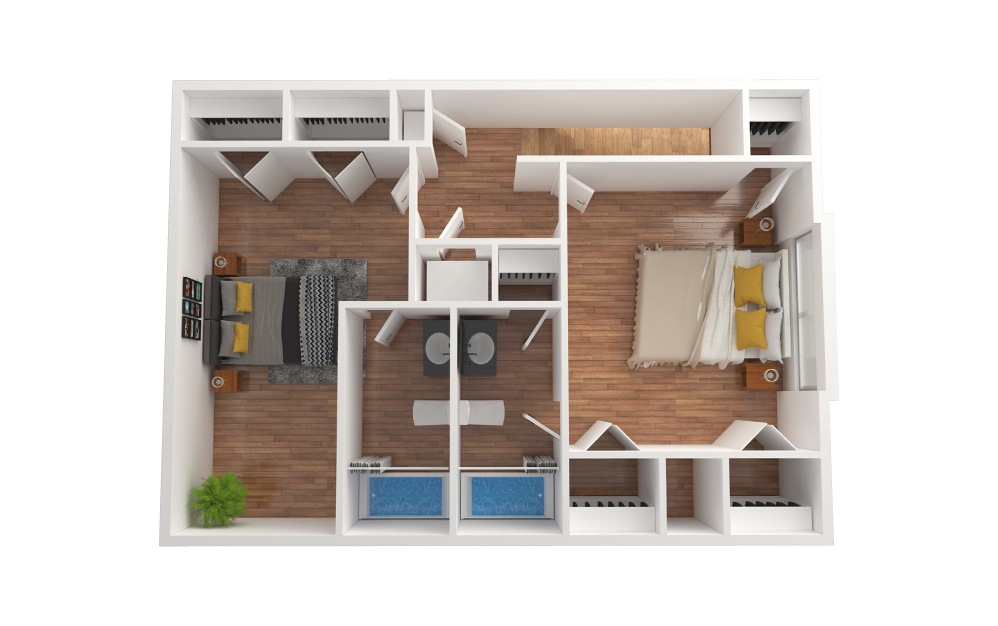D5 - 2 bedroom floorplan layout with 2.5 baths and 1427 to 1428 square feet. (Floor 2)