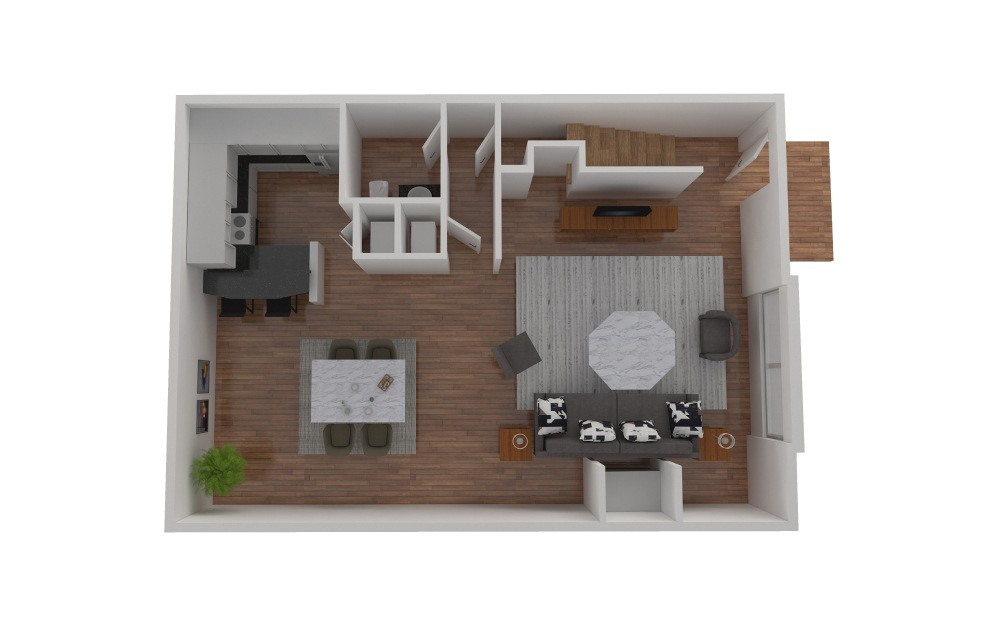 D5 - 2 bedroom floorplan layout with 2.5 baths and 1427 to 1428 square feet. (Floor 3)