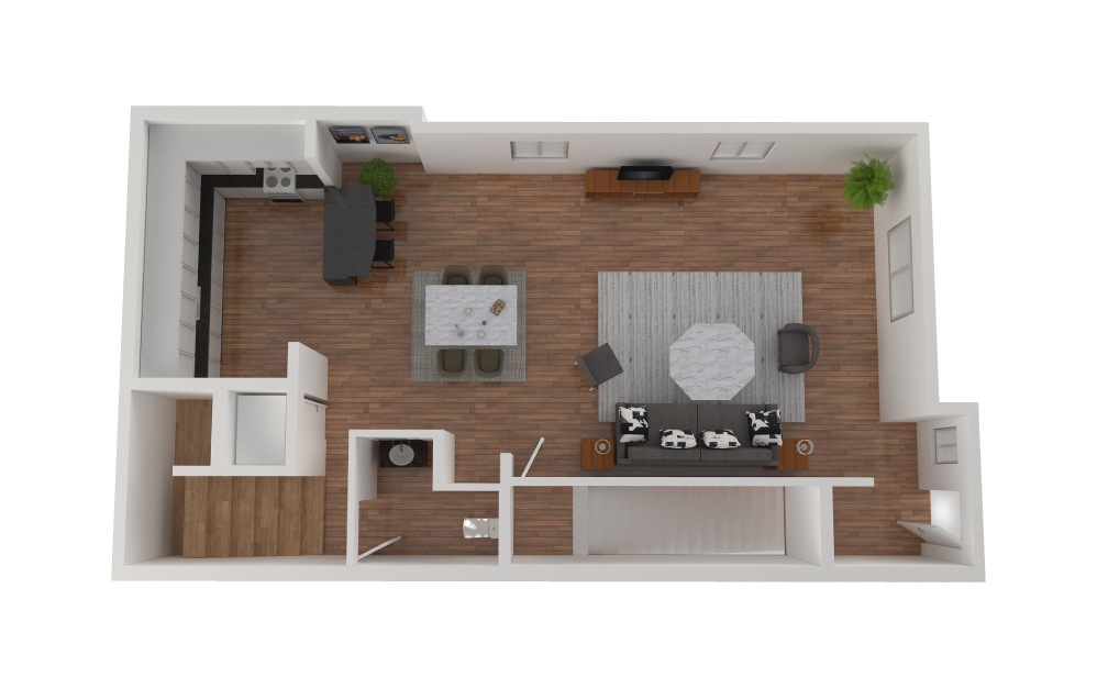 D6 - 2 bedroom floorplan layout with 2.5 baths and 1428 square feet. (Floor 2)
