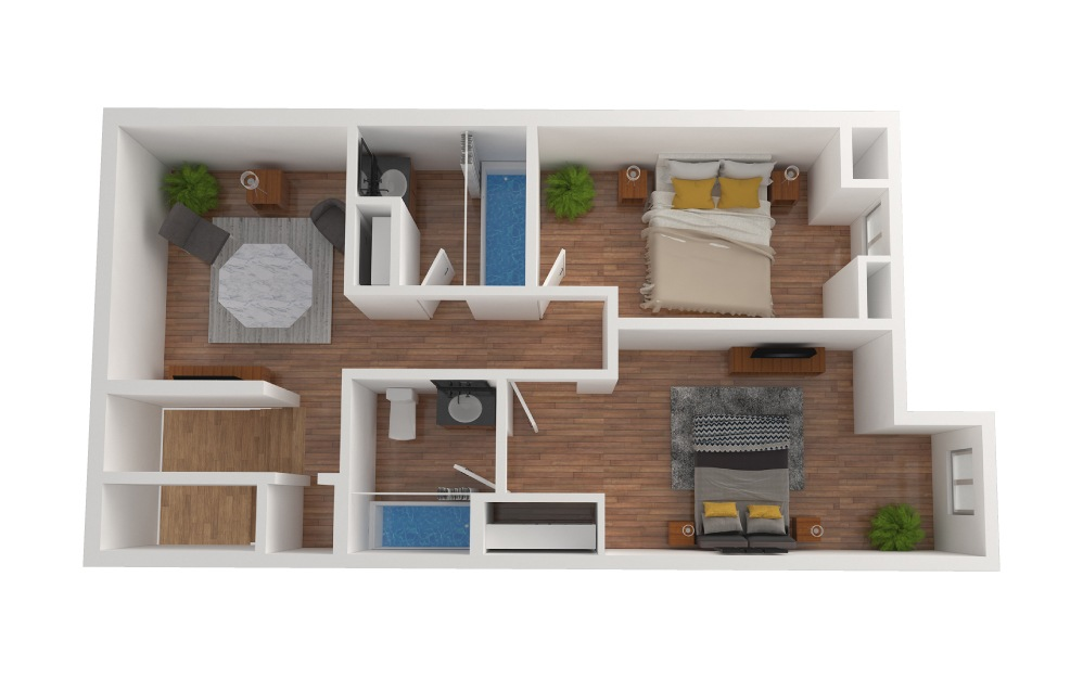 D6 - 2 bedroom floorplan layout with 2.5 baths and 1428 square feet. (Floor 3)