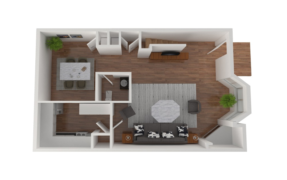 D7 - 2 bedroom floorplan layout with 2.5 baths and 1436 square feet. (Floor 2)