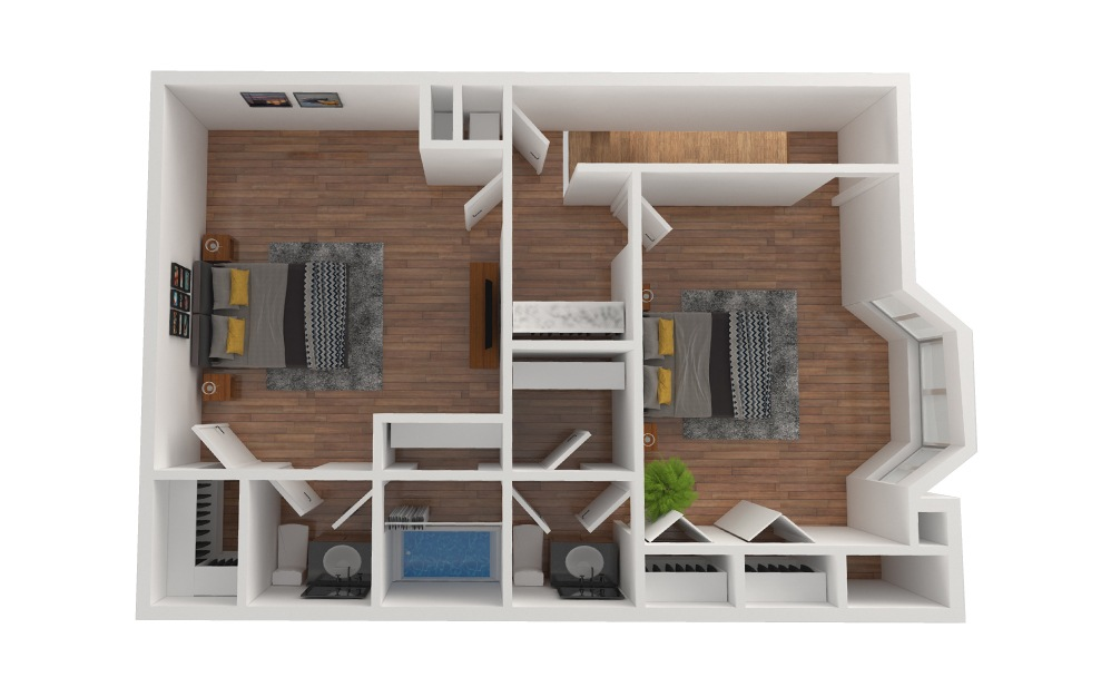 D7 - 2 bedroom floorplan layout with 2.5 baths and 1436 square feet. (Floor 3)