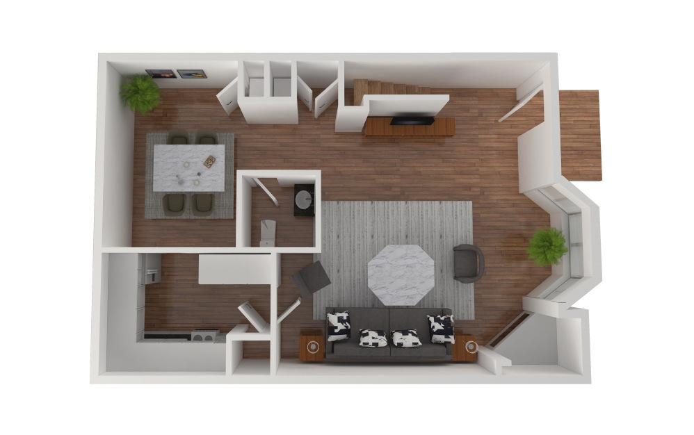 E1 - 3 bedroom floorplan layout with 2.5 baths and 1430 square feet. (Floor 2)