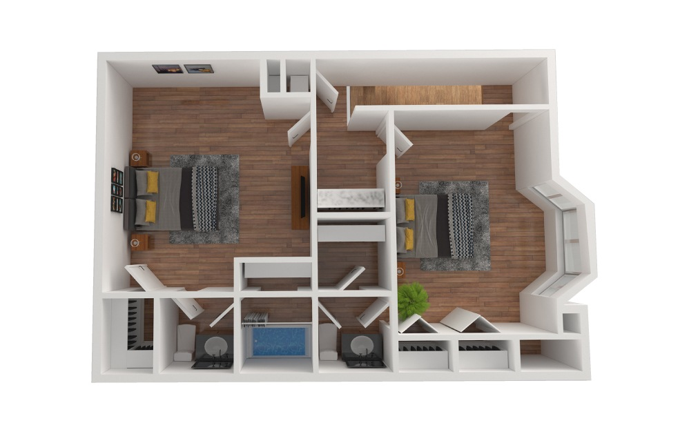 E2 - 3 bedroom floorplan layout with 2.5 baths and 1430 square feet. (Floor 3)